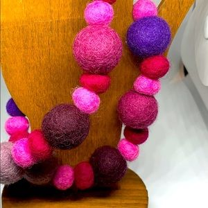 Felted Wool Ball Necklace 24 Inches Long 2/$15